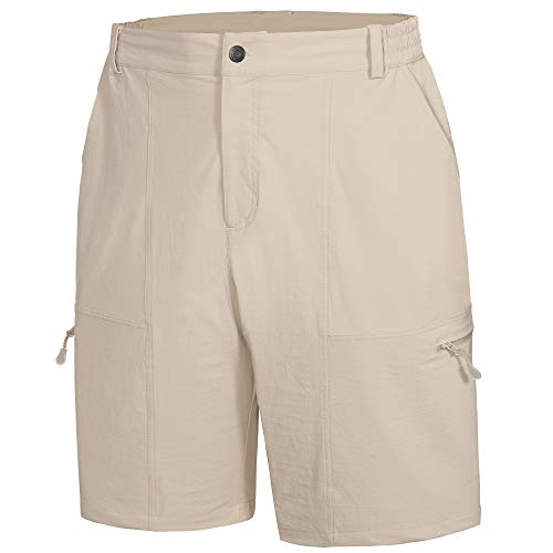 Libin Men's Outdoor Hiking Shorts Lightweight Quick Dry Stretch Cargo Shorts Travel Fishing Golf Tactical Shorts, Khaki L