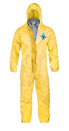 X-Large - Lakeland Chemmax 1 Hazmat Suit for Industrial Safety with Hood and Boots Zipped Up Sealed Seam (Two Suits)