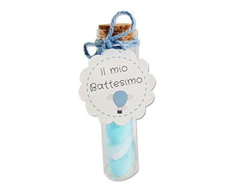 BARATTI kit bomboniere 20 Provette vetro 9 cm + confetti + cotone + etichette battesimo (celeste)
