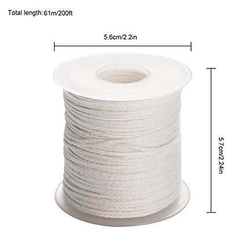 ZhuFengshop 1 Rollo 200 pies 61m Vela Blanca Mecha de algodón Vela Tejida de Mecha para Vela Bricolaje y Vela (Color : 61M 1 Roll)