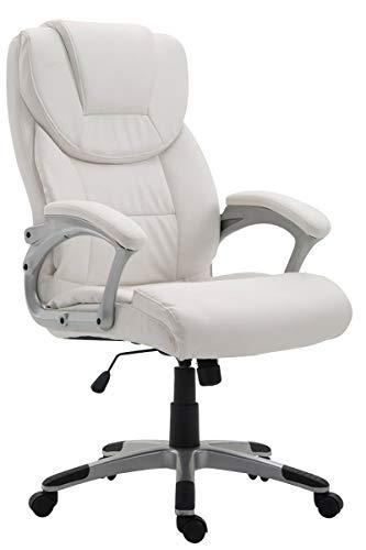 CLP Silla De Oficina XL Texas V2 En Simil Cuero & Base con Ruedas I Silla Ejecutiva Acolchada con Mecanismo De Balanceo, Color:Blanco