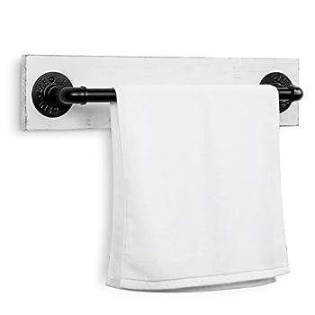 MyGift Wall Mounted Bathroom Towel Bar Rack with Vintage Distressed White Wood & Black Metal Industrial Pipe 24-inch