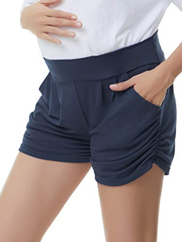 Liu & Qu Womens Maternity Shorts Underbelly Comfy Side Ruching Pregnancy Shorts Pants with Pockets Navy Blue