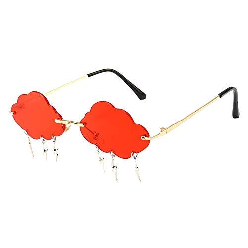 Hellery Gafas de Sol sin Montura para Mujer, Gafas de Sol con diseño novedoso, Gafas con Lentes teñidas - Rojo