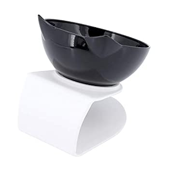 ShawFly Gamelles inclinées à 15 ° pour chat avec support et pelle à nourriture, bol simple et double en plastique transparent pour chats et petits chiens (1 pièce)