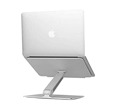 Ventilated Adjustable Laptop Stand Portable Adjustable Aluminum Laptop Desk Stand Table Vented w Macbook Light Weight Ergonomic TV Bed Lap Tray Stand Up Sitting mStand Laptop Stand Silver