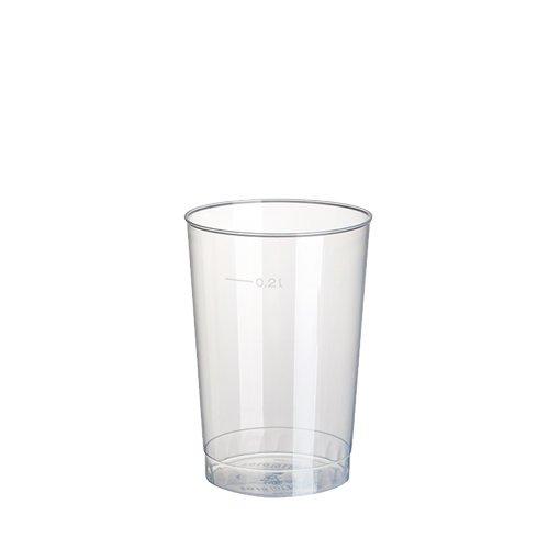 Gastro-Bedarf-Gutheil 200 Stück Plastikbecher / Einwegbecher 0.2 l transparent Ø 6.8 cm Höhe 9.8 cm aus Polystyrol, stabile, splitterfreie und fast unzerbrechliche Einwegbecher mit Füllstrich