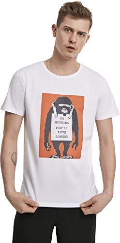 MERCHCODE Herren Banksy Do Nothing Tee T-Shirt, White, S