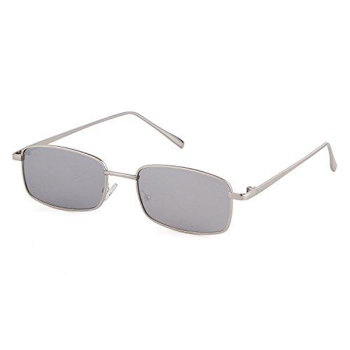 ADEWU Platz Sonnenbrille Mode Retro Brille für Damen Herren (Silber Linse + Silber Rahmen)