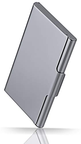 MaxGear Ultra-Light Business Card Holder for Men & Women, Pocket Business Card Case Slim Business Card Wallet Business Card Holders Name Card Holder, 10-15 Cards, 3.7 x 2.35 x 0.34 in, Aluminum, Gray