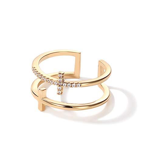AILUOR Unisex Einfache Art Und Weise Zweilagig-Kreuz-Geöffneter Ring, 18K Religiöser Glaube Moderne Kristall Kreuz-Finger-Ringe
