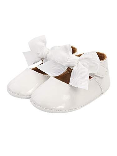 Baby Girl Taufe Schuhe, weiche Sohle Prinzessin Kleid Mary Jane Flats mit niedlichen Band Schleife rutschfeste Kinderbett Schuhe (Weiß, 6-12 Monate)