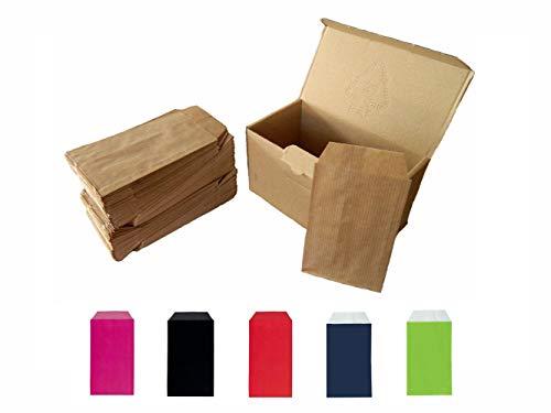 Yearol K04. 250 Sobres bolsas de papel kraft pequeñas sin asas. Especial para regalo, tiendas, comercio, joyería, bisutería, manualidades, etc. 7 cm. x 12 cm. 60 gr. Marron