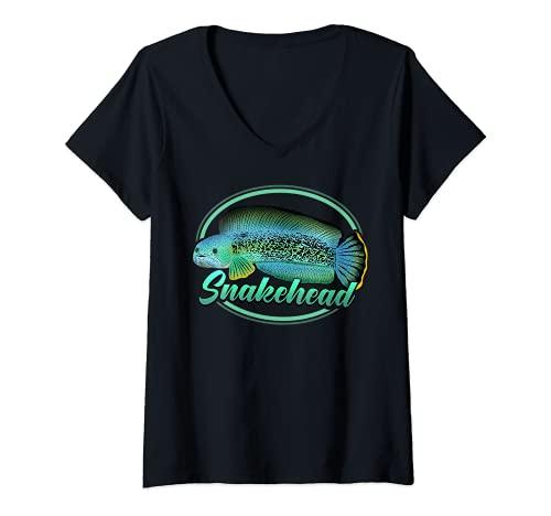 Damen Channa Schlangenkopf Snakehead Aquarium Aquarianer Geschenk T-Shirt mit V-Ausschnitt