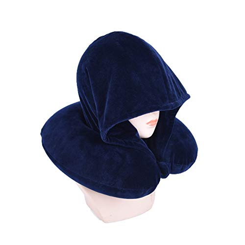Bookishbunny Fashion Look U Shaped Memory Foam Neck Head Support Travel Pillow with Velvet Hoodie - Best Comfort Pain Relief for Long Trip, Air Bus Traveling, Car Driving (Solid Navy)
