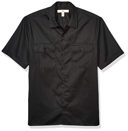 Amazon Essentials Men's Short-Sleeve Stain and Wrinkle-Resistant Work Shirt, Black, X-Large