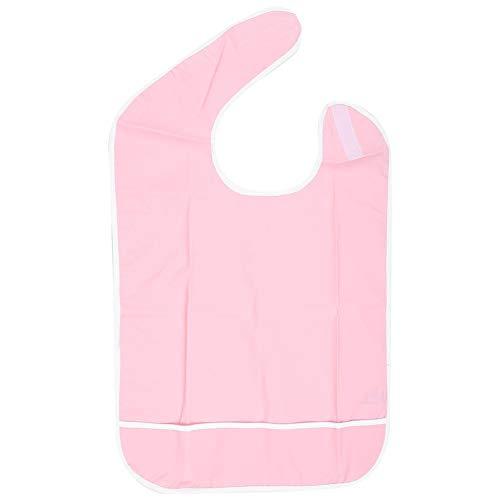 Adult Bib,Waterproof Oil Proof Elderly Mealtime Bib,Dining Apron Clothing Protector Bib,Mealtime Eating Bib,Dining Apron Clothes Protector,Reusable Bib (45 65cm-Pink)