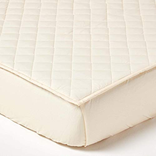 HOMESCAPES Housse de Protection de Matelas Ecologique Couleur Crème de 180 x 200 cm en Pur Coton Bio d'Eypte avec 150 Fils/cm²