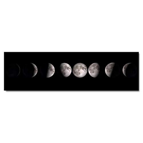 Pinturas de pared Fase lunar Cartel de la lona Arte en blanco y negro Pintura impresa Decoración nórdica Imagen de pared abstracta para la habitación de la cama Sala de estar 50x150cm Sin marco