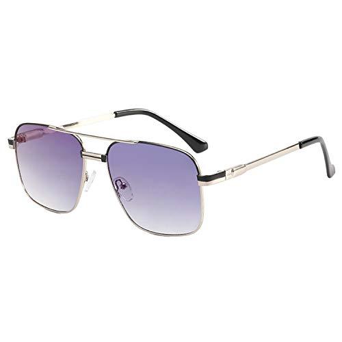 HUANGDAN Gafas de Sol de Metal de Moda de Las señoras, Gafas de Sol de Marco Grande de Moda, Personalidad Gafas de Sol de fotografía de Calle Lisa,A