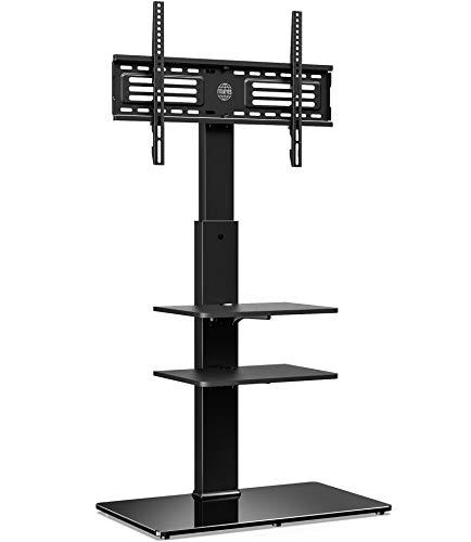 FITUEYES Soporte Giratorio de TV de 32 a 65 Pulgadas con 3 Estantes Soporte de Suelo para Televisión LCD LED OLED Plasma Plano Curvo Girar 60 Grados Altura Ajustable 122-138 cm MAX VESA 400x600 mm