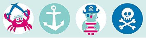 lovely label Bordüre selbstklebend Piraten Mint/PINK - Wandbordüre Kinderzimmer/Babyzimmer mit Pirat-Motiven – Wandtattoo Schlafzimmer Mädchen & Junge – Wanddeko Baby/Kinder