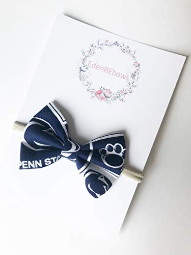 Penn State PSU Pennsylvania University baby girl newborn nylon headband bow - made in USA