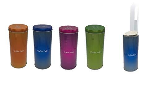 James Premium Paddose für 18 Kaffeepads, neues Design, Dose, Pad, 4er Pack 2 Motive AKTION PLUS PADHEBER