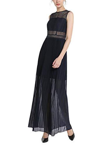 APART Elegantes Damen Kleid, Abendkleid, lang, blau, schmaler Schnitt, mit Spitze, plissierter Rockpart, teilweise transparent, Nachtblau, 46
