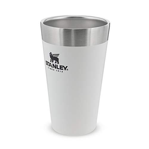Stanley Adventure Stacking Beer Pint 0.47L / 16OZ Polar White – Garde la bière fraîche pendant 4h - Verre à bière en acier Inoxydable - À empiler - Double paroi isolante - Passe au lave-vaisselle