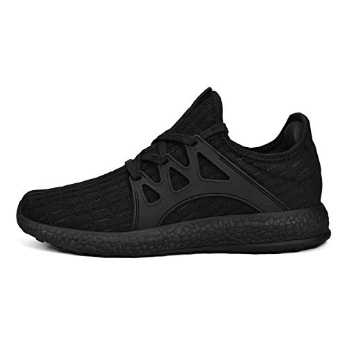 MARSVOVO Women's Sports Non Slip Running Shoes Work Shoes Fashion Sneakers Air Knitted Ultra Lightweight Breathable Athletic Gym Walking Running Shoes New Black Size 7