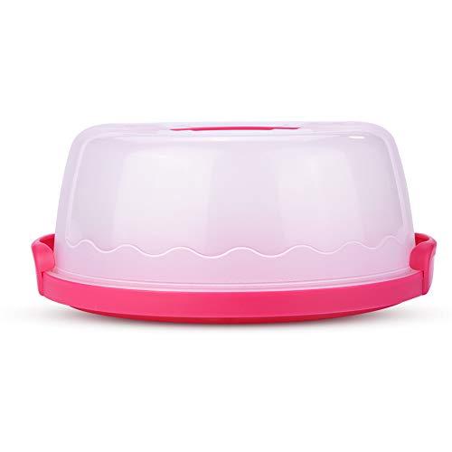 Caja, portátil, redondo, transparente, portador de pasteles, contenedor de almacenamiento, servidor, tapa con cierre, mango, 10 pulgadas, accesorios de cocina de color rosa rojo