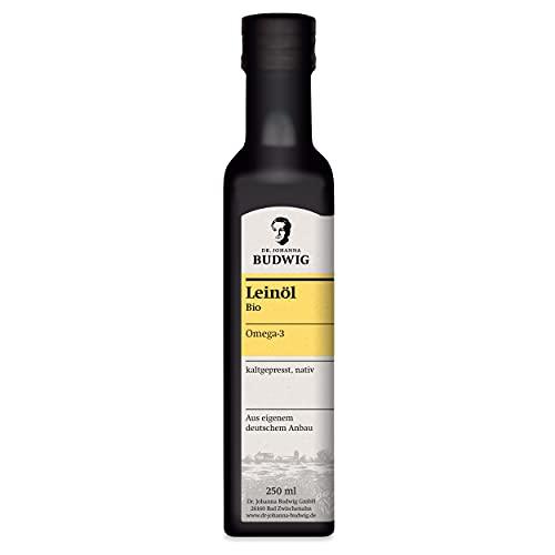 Dr. Budwig Omega-3 Leinöl - Das Original - JETZT NEU ZU 100{fb6ab785a50adbbf240971b1b40a66979f8527c84a6730265962924942c52294} AUS EIGENEM DEUTSCHEN ANBAU - kaltgepresst und ungefiltert, mit einem frischen Aroma, 250 ml