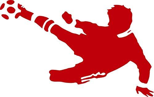 EmmiJules Wandtattoo Fußball-Spieler Fussballer - mit Namen möglich - Made in Germany - in verschiedenen Größen und Farben - Kinderzimmer Junge Fußball WM EM Sticker Aufkleber (80cm x 50cm, rot)