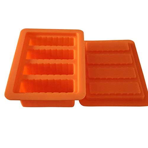 HONEYYE Silicone Butter Mold Tray Container for Butter Pudding Soap Chocolate Ice Cube 4 Cavity Rectangle (Orange)