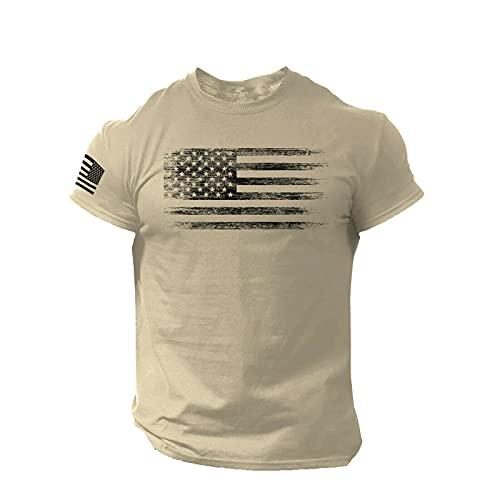 Camiseta de manga corta para hombre, diseño de bandera estadounidense con cuello redondo, manga corta, camiseta básica, C_Khaki, M