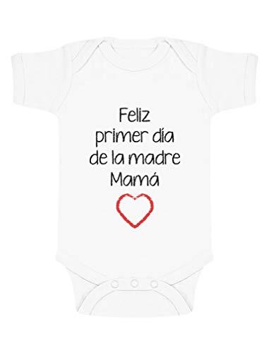 Body de Manga Corta para bebé - Feliz Primer Día de la Madre - para Mamá en su Día 12-18 Mes Blanco