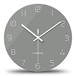 FlorLife Kitchen Modern Wall Clock with Numbers, Round Wall Decorative Clock, Silent Non-Ticking Digital Hanging Glass Clock for Living Room/Bedroom/Bathroom 12 Inch - Grey