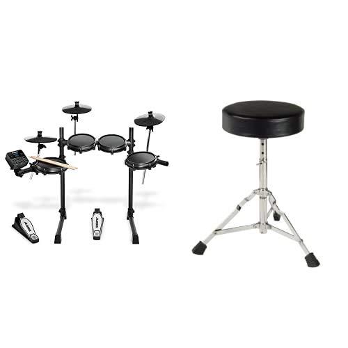 Alesis Turbo Mesh Kit - E Schlagzeug Elektronisch / 7-teiliges E Drum Set mit Mesh-Heads, Drumsticks, Drum Key & XDrum Schlagzeughocker Semi (Höhenverstellbar 50-64cm, drei Standbeine mit Gummifüßen)