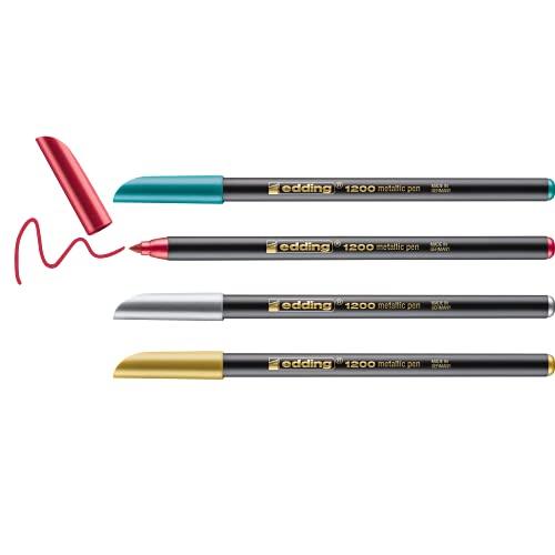 edding 1200/4metallic - Blíster con 4 rotuladores, color oro / plata / verde / rojo metálicos