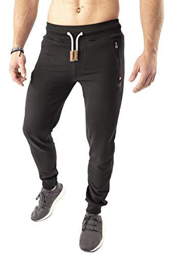Mount Swiss Lange Freizeithose Herren Finn I Sweatpants mit Taschen I Laufhose mit Seitentasche + Gesäßtasche mit Reißverschluß Männer in Farbe schwarz, Gr. 3XL