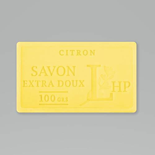 PRODUIT DE PROVENCE - CITRON - SAVON DE MARSEILLE EXTRA DOUX 100 G - DÉLICAT PARFUM NATUREL DE CITRON - GARANTI SANS PARABEN