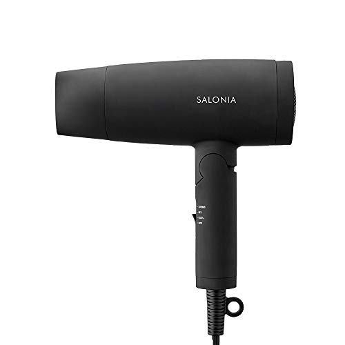 SALONIA Speedy Ion Dryer, Black, Large Airflow, Quick Drying, Negative In, Folding Type