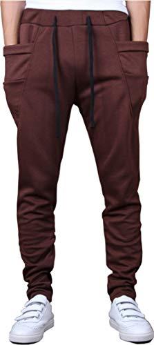 Hoerev Men's Running Yoga Trousers Casual Jogging Harem Cotton Pants,Brown,XX-Large