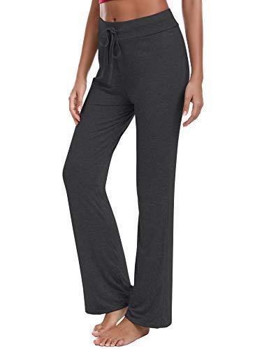 Irevial Pantalones de Yoga para Mujer Modal,100% Algodon,Alta Cintura Elásticos pantalón de Campana con cordón, Casuales Chandal Deportivo Verano,para Pilates Jogger Fitness