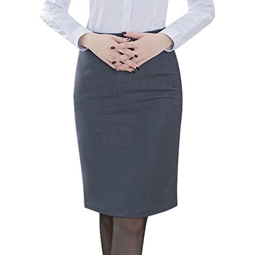 Elegante falda lápiz de mujer estilo coreano más tamaño cintura alta, gris, XXXL