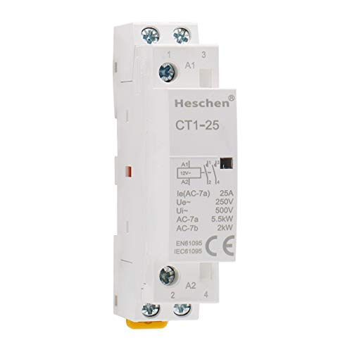 Heschen Contactor de CA doméstico CT1-25 Ie 25A 2 polos Dos normalmente abiertos 12V Voltaje de bobina 35mm Montaje en carril DIN