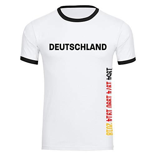 T-Shirt Deutschland mit Jahreszahlen seitlich 1954 1974 1990 2014 2018 Trikot Herren weiß Gr. S-2XL - Fanshirt Fanartikel Fanshop Trikot Fußball EM WM,Größe:XXL