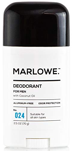 MARLOWE. No. 024 Natural Deodorant for Men 2.5oz | Aluminum Free Stick | Made with Coconut Oil, Shea Butter, Jojoba | Only No-Nonsense Ingredients that Work Best | Fresh & Woodsy Scent