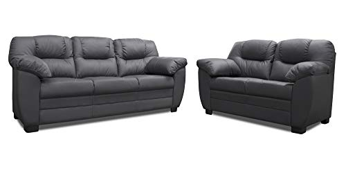 ConfortoPiel Sala de Piel Genuina Toscana Sofa y Love Seat (Gris Oxford)